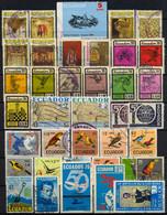 ECUADOR , LOTE DE SELLOS USADOS # 6 ,  ARTE , DEPORTES , OLIMPIADAS , HISTORIA , OLIMPIADAS , AVES , BOLIVAR - Ecuador