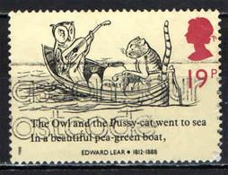 GRAN BRETAGNA - 1988 - EDWARD LEAR - POETA E AUTORE DI CANTI E POEMI PER BAMBINI - IL GUFO E LA GATTINA - FAVOLA - USATO - Used Stamps