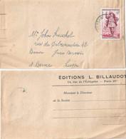 "Streifband  ""Editions Billaudot, Paris""  Persan - Bern          1953 - Briefe U. Dokumente"