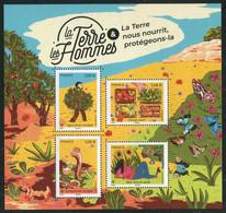 """FEUILLET** De 2011 De 4 Timbres Gommés  """"LA TERRE & LES HOMMES - La Terre Nous Nourrit, Protégeons-la"""" - Ungebraucht"""