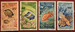DF50500/1305 - 1966 - CÔTE DES SOMALIS - POSTE AERIENNE - N°50-51-53-55 ☉ - Cote (2020) : 46,50 € - Used Stamps