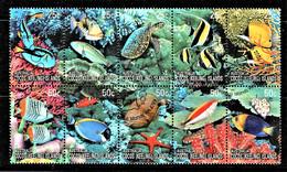 Cocos Islands 2006 Coral Reefs 25c, 50c Block Of 10 Used - Cocoseilanden