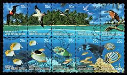 Cocos Islands 2006 Coral Reefs 10c, 25c Block Of 10 Used - Cocoseilanden