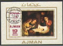 "-Ajman-(1969 Issue) Titian's : ""Diana & Calisto"" Souvenir Sheet- (USED) - Ajman"