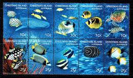 Christmas Island 2004 Underwater - Marine Life 10c, 25c Block Of 10 Used - Christmas Island