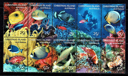 Christmas Island 2004 Underwater - Marine Life 25c, 50c Block Of 10 Used - Christmas Island