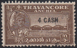 INDIA  -TRAVENCORE   SCOTT NO 46A   USED  YEAR  1943   PERF 11 - Travancore