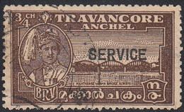 INDIA  -TRAVENCORE   SCOTT NO 055    USED  YEAR  1941  PERF 12.5 - Travancore