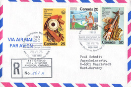 Canada Registered Cover 1976 Montreal Olympic Games - Comite International Olympique - Reg.label XXI - Verano 1976: Montréal