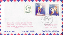 Canada Flight Cover FDC 1976 Montreal Olympic Games - To Previous Olympic Sites: Rome (DD33-13) - Verano 1976: Montréal