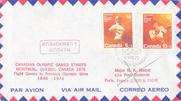 Canada Flight Cover FDC 1976 Montreal Olympic Games - To Previous Olympic Sites: Paris (DD33-13) - Verano 1976: Montréal