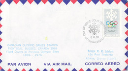Canada Flight Cover FDC 1976 Montreal Olympic Games - To Previous Olympic Sites: Athens (DD33-13) - Verano 1976: Montréal