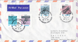 Canada Airmail Posted 1988 Calgary Olympic Games Icehockey To DDR (DD33-13) - Invierno 1988: Calgary