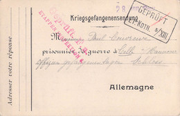 Card To A French POW In Germany, Offiziersgefangenenlager Celle, Hannover Censored By Etappen Inspektion 6 - WW1 (I Guerra Mundial)