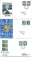 REGIONALES 1967, Irlande Du Nord YT431-4 - SG4-6, Ecosse YT 430-3 SG4-6,  Pays De Galles YT429-32 SG4-6 - Covers & Documents