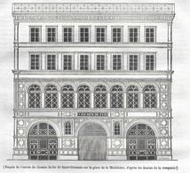 GRAVURE De 1836.. PARIS. Façade De L'Entrée Du Chemin De Fer De Saint Germain Sur La Place De La Madeleine - Prints & Engravings