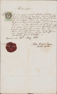 1877 Military Document Komarom Red Wax Seal Militar Caplan 6th Infantry Regiment - Historical Documents
