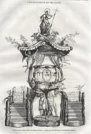 GRAVURE De 1836.. BELGIQUE. Chaire En Bois Dans L'Eglise De SAINTE GUDULE, Sculptée Par VAN BRUGGEN, XVIIe Siècle - Prints & Engravings