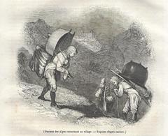 GRAVURE De 1836.. PAYSANS Des ALPES Retournant Au Village - Prints & Engravings