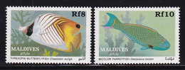 Maldives 1989, Fish, Minr 1354-1355 MNH. Cv 8 Euro - Maldiven (1965-...)