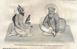GRAVURE De 1836.. GOUROU-SING Et BABA-NANCK, Fondateurs De La Religion SIKE - Prints & Engravings