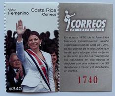 Costa Rica 2011, Women Suffrage - President Chinchilla, MNH Stamps Strip - Costa Rica
