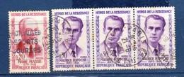 """4 TIMBRES """" HÉROS DE LA RÉSISTANCE """" Y&T 1249° Y&T, 1250° X 3 - 1960 Oblitérés Cachet Rond (2412) _Ti1521 - Used Stamps"""