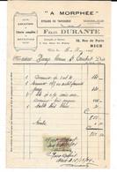 """Facture 1924 - """" A MORPHEE """" Félix DURANTE à NICE - Atelier De Tapisserie - Literie-Pour DAVAYE à ST Lambert -Imp NICOIS - Old Professions"""