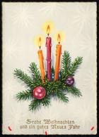 D2368 - Glückwunschkarte Weihnachten - Tannenzweig Kerze - Unclassified
