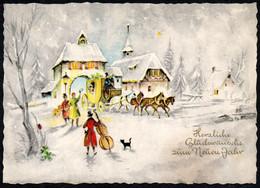 E7504 - Glückwunschkarte Weihnachten - Winterlandschaft Kirche Pferdekutsche Gespann - Verlag Horn Royal - Unclassified