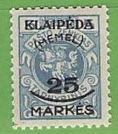MiNr.125 X  Deutschland Deutsche Abstimmungsgebiete Memelgebiet - Klaipeda