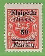 MiNr.131 X  Deutschland Deutsche Abstimmungsgebiete Memelgebiet - Klaipeda