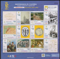 Colombia (2021)  - MS -   /  History - Bicentury Independence (7) - Military - Horses - Paintings - Coins - Maps - Colombia
