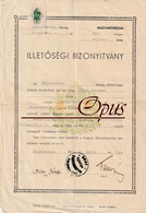 Hungarian Residence Certificate - 1942 - 1 Pengo Revenue Stamp - Historical Documents