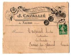 VP18.405 - 1920 - Enveloppe Illustrée - Spécialité De Vins Rouges & Blancs J.CAVALLIE à AGDE Pour EVAUX LES BAINS - 1900 – 1949