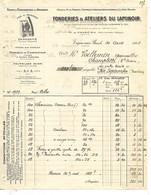 3 Factures 1922-24 / 08 VRIGNE AUX BOIS / Fonderies & Ateliers Du Laminoir / Logo Fer à Repasser GENDARME - 1900 – 1949