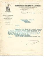 2 Courriers 1923 / 08 VRIGNE AUX BOIS / Fonderies Du Laminoir / Logo Fer GENDARME / Manque Feuillard - 1900 – 1949