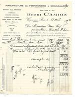 3 Factures 1928-31 / 08 VRIGNE AUX BOIS / Henri CAMION / Manufacture De Ferronnerie - 1900 – 1949