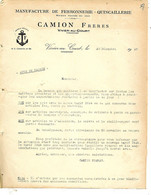 6 Courriers 1925-27-37& 2 Factures / 08 VRIGNE AUX BOIS / CAMION Frères / Manufacture De Ferronnerie / Hausse Tarifs - 1900 – 1949
