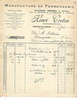 3 Factures 1926-50-51 / 08 VRIGNE AUX BOIS / H CRETON / Manufacture De Ferronnerie - 1900 – 1949