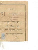 2 Récépissés Des Domaines 1908 / 08 VRIGNE AUX BOIS / Succession Jassier Emérance Marie / Timbre Fiscal - 1900 – 1949