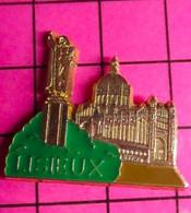 417 Pin's Pins / Beau Et Rare / THEME : VILLES / EN RELIEF METAL JAUNE BASILIQUE DE LISIEUX SAINTE THERESE QUI RIT QUAND - Cities