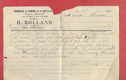 Courrier 1917 / 52 Ecart D'ILLOUD Par Bourmont / H ROLLAND Fromagerie Du Domaine De La COTE LA BICHE - 1900 – 1949