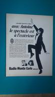 Le Chanteur Antoine Pour Pub Monte Carlo ,extrait De Page De Paris Match - Historical Documents