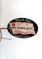 Paquebot France Etiquette Bagage Voyage Regulier Le Havre Southampton New York - World
