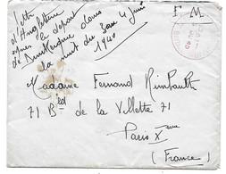 Env. Militaire Rimbault - 4 Juin 40 - Dunkerque-Angleterre 5 JU 40 - Correspondance Prisonnier En Allemagne En 41 - Guerres