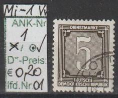 """1956 - DDR - DM = Dienstmarken """"Ziffernzeichnung""""  5 Pfg. Schw'brtaun - O Gestempelt - S.Scan  (Vw 1o 01-04  Ddr) - Dienstpost"""