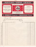 Facture Vierge A4  Roquet Peintures - Vernis -Cirages   à Granville - 1900 – 1949