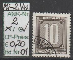 """1956 - DDR - DM = Dienstmarken """"Ziffernzeichnung""""  10 Pfg. Schw'brtaun - O Gestempelt - S.Scan  (Vw 2o 01-03  Ddr) - Dienstpost"""