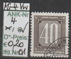 """1956 - DDR - DM = Dienstmarken """"Ziffernzeichnung""""  40 Pfg. Schw'brtaun - O Gestempelt - S.Scan  (Vw 4o 01-03  Ddr) - Dienstpost"""